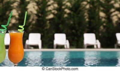 cocktails, piscine, natation