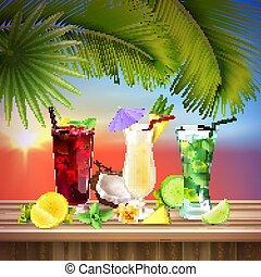 cocktails, realistisch, set, samenstelling