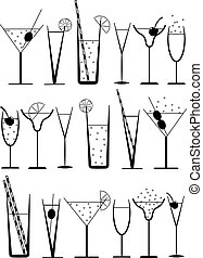 cocktails, silhouette