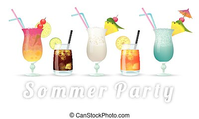 """Cocktails Sommer Party - German text """"Sommer Party"""",..."""