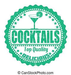 Cocktails stamp - Cocktails grunge rubber stamp on white,...