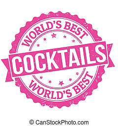 Cocktails stamp - Grunge rubber stamp with the word...