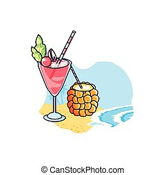 cocktails, tropicals, set, strand