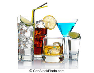 Cocktails - Variety of cocktails isolated on white with ...
