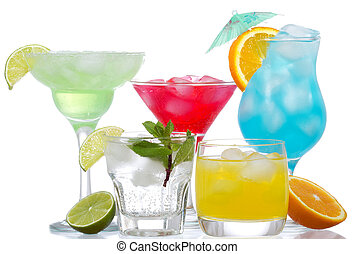 cocktails with fruits on a white background