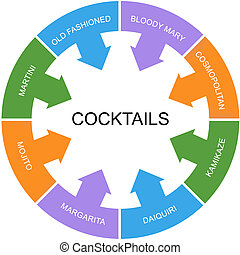 Cocktails Word Circle Concept with great terms such as...