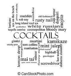 Cocktails Word Cloud Concept in black and white