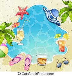 cocktails, zomer, illustratie