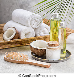 coco, óleo, shampoo, e, hairbrush., cabelo, care.