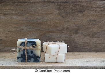 coco, añil, tapa de madera, hechaa mano, leche, plano de ...