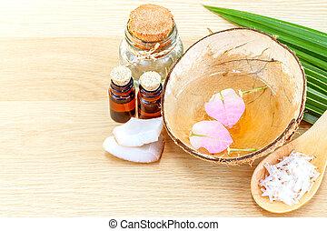 coco, aceite, natural, ingredientes, -, alternativ, balneario, esencial