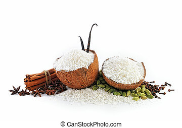 Coconut parts are filled with crumbs and Spice