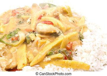 coco, arroz, pollo
