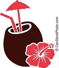 coco, bebida, coquetel