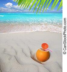 coco, caraíbas, coquetel, palha, suco, praia