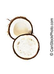coco, corte, fruta, fundo, metade, branca