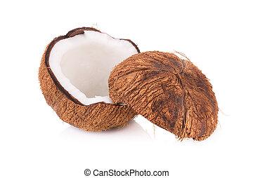 coco, corte, fundo branco, metade