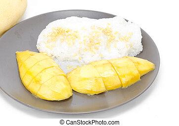 coco, doce, sobremesa, pegajoso, mistura, manga, tailandês, arroz, leite
