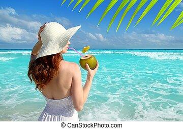 coco, fresco, cóctel, perfil, playa, mujer, bebida