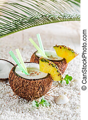 coco, hojas,  pinacolada, piña, fresco, menta