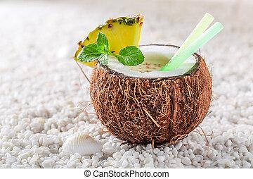 coco, hojas,  pinacolada, sabroso, piña, menta