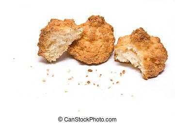 coco, morsi, biscotti, tre, briciole