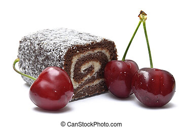 Coco roll bar with cherries isolated on white