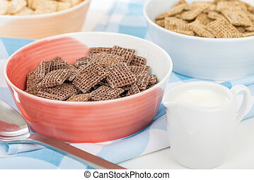 Coco Shreddies - Chocolate flavoured cereals in a red bowl.