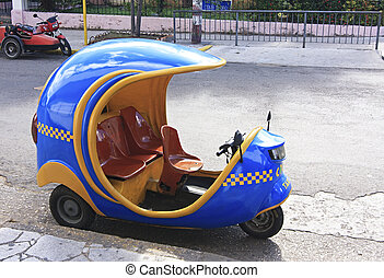 Coco taxi on the street of Havana. Cuba.
