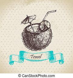 coco, vendimia, cocktail., ilustración, mano, plano de...