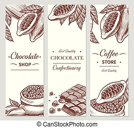 Cocoa and chocolate banners. Sketch cacao and coffee seeds, chocolate bars and candies. Hand drawn sweets, coffee shop vector flyers