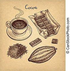 Cocoa and chocolate set.