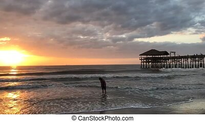 Cocoa Beach, Florida City Pier Sunrise Time Lapse - Cocoa...