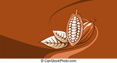 cocoa bean with chocolate background
