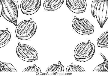 Cocoa bean tree design template