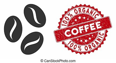 Cocoa Beans Icon with Textured 100% Organic Coffee Seal -...