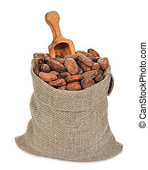 Cocoa beans in a bag on a white background
