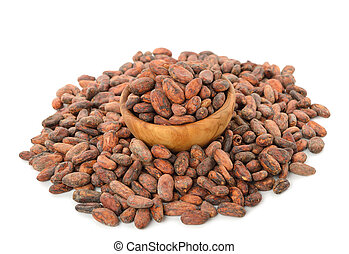 Cocoa beans isolated on white background