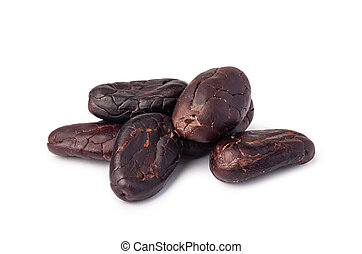 Cocoa beans Isolated on white background.