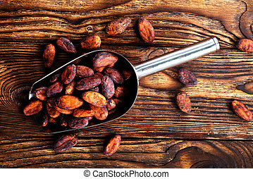 cocoa beans on a table, stock photo