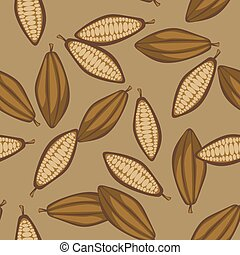 Cocoa beans seamless pattern. Chocolate background.