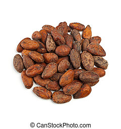 Cocoa beans - Raw cocoa beans isolated on white background