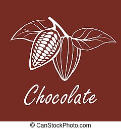 Cocoa beans with leaves on brown background. Vector illustration.