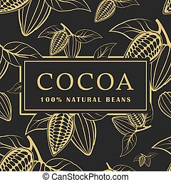 Cocoa beans with leaves on dark background. Seamless pattern. Vector illustration.