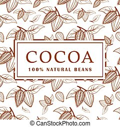 Cocoa beans with leaves on white background. Seamless pattern. Vector illustration.