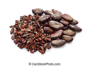 Cocoa Beans with nibs. Isolated