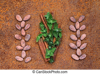 Cocoa flat lay  concept with raw cocoa beans , leaf of mint and twig of cinnamon as  ingredien for recipe  on iron  background,