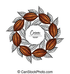 Cocoa frame. Vector superfood drawing template. Fruit, leaf and bean engraving. Organic healthy food sketch.