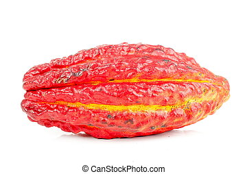 Cocoa fruit over white background .