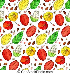 Cocoa fruit vector doodle seamless pattern